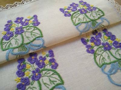 Charming Posies Violets & Bows ~ Vintage Heavily Hand Embroidered Centrepiece