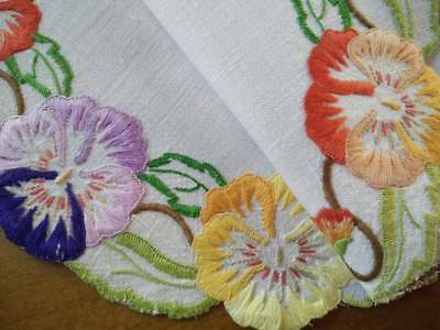 Gorgeous Vintage Centrepiece  - Hand embroidered Pansy/Pansies