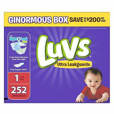 Luvs Ultra Leakguards Disposable Diapers Newborn Size 1, 252 Count, ONE MONTH...