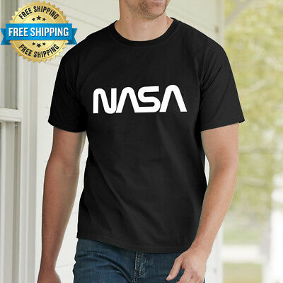 Men New Hot Black 100% Cotton Cool NASA Logo T-shirt Crew Neck short sleeve Tee
