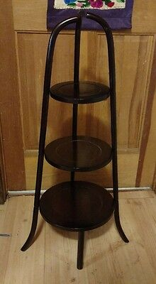 Wood 3 Tier Mahogany/Cherry Plant Display Stand Hand Carved