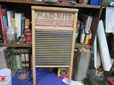 hardwood washboard brass vintage standard family size cloths washing antique