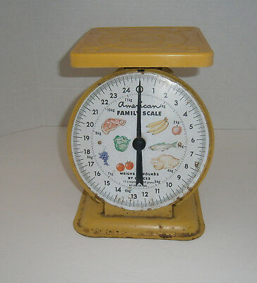 Vintage Yellow American Family Old Farm 25 Lb Metal Kitchen Scale