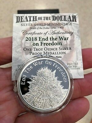 2018 1OZ End the War on Freedom - Proof Silver Shield -Mini-Mintage - 745 Minted