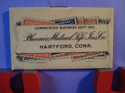 Antique Advertising Celluloid Stamp Case Phoenix Mutual Life Ins. Co Hartford Ct