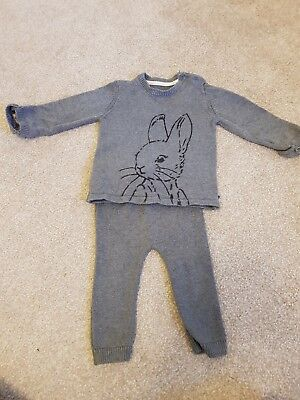 peter rabbit m&s grey knitted jumper suit 9-12 months