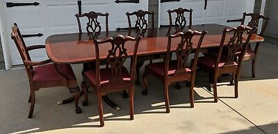 Stickley Chippendale Mahogany Table 4198 with 8 Ball & Claw Arm Side Chairs 4787
