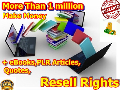 More Than 1,000 000 Books, PLR Articles, Quotes, Resell Rights $ Make Money $