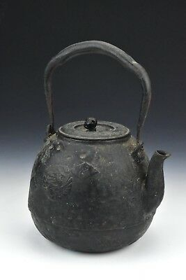 Antique Signed Japanese Meiji Period Tetsubin Iron Kettle