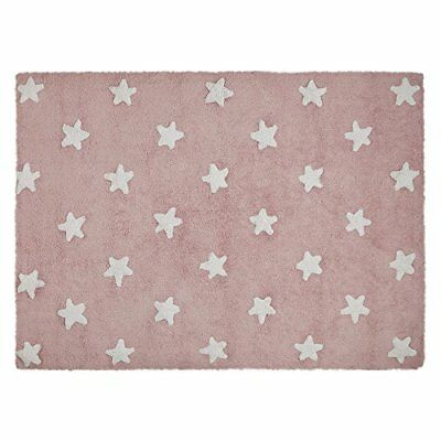Lorena Canals C-R-SW Pink Stars White Washable Rug, Rosa