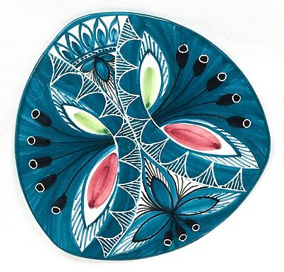 Elle Norway Signed Pottery 7¾ Plate Abstract Butterfly Floral Turquoise Blue