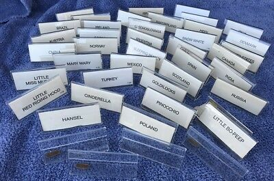 """(43) Forty Three 1980S Acrylic Standing Name Plates 3"""" X 1 3/8"""""""