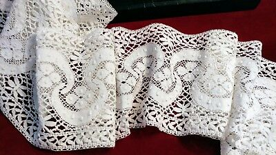 "1.90_Yds_Antique_Victorian_Bobbin_Cluny_Crocheted_Lace_Trim_5.8""_Wide"