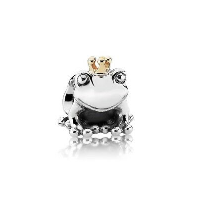 Genuine Pandora Silver Frog Charm 14Ct Gold Crown In Pouch