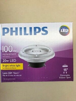 6 Philips 458562 LED 20W 12V AR111 GX53 15 degree Spot 3000K Dimmable Bulb