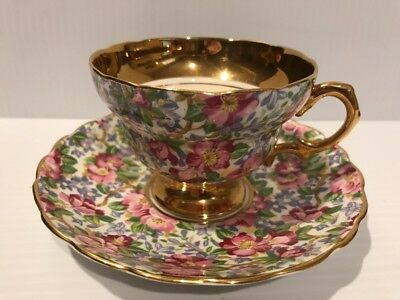 ROSINA England FLORAL CHINTZ  TEA CUP AND SAUCER SET  - Heavy Gold Trim footed