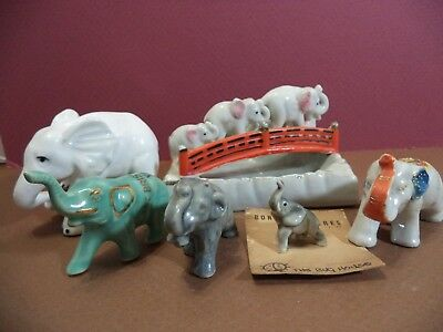 6 Vintage Small Elephant Figurines 2 Japan 2 Bone China 1 From Bristol Va