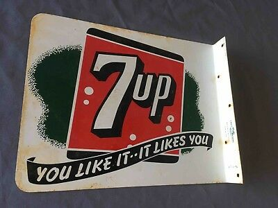 Vintage Seven Up 7up Soda You Like it Likes You 2 Sided Flange Advertising Sign