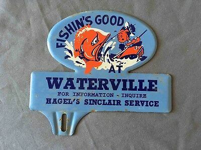 Vintage Fishin's Good at Waterville Hazel's Sinclair Gas Service License Topper