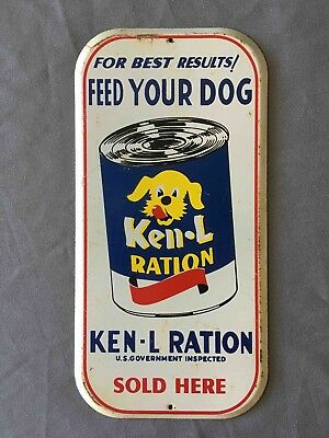 Vintage Feed Your Dog Ken-L Ration Dog Food Sold Here Painted Tin Door Push Sign
