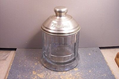 Vintage Borden's Malted Milk Glass Container W/ Cover ,improved Malted Milk