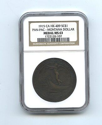 1915 CA HK-409 Pan Pac-Montana Dollar So-Called Dollar, NGC MS 63