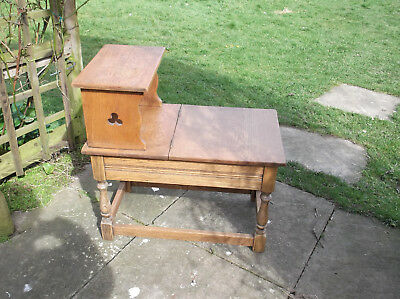 Arts And Crafts Golden Oak Stool/ Bench /table With Lift Up Lid