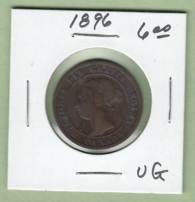 1896 Canadian Large Cent Coin - VG