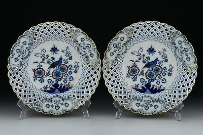 Pair Antique Reticulated Meissen Plates with Reticulated Openwork Border