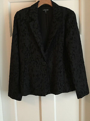 Eileen Fisher Black Jacquard One Button Jacket, Elegant, Sz S