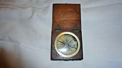 ANTIQUE C18th MAHOGANY BOXED POCKET COMPASS PAPER DIAL WORKING .99p Start