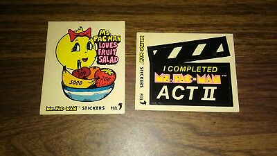 1981 Ms PAC MAN LOT OF 2 STICKERS ACT II & LOVES FRUIT SALAD STICKER CARDS