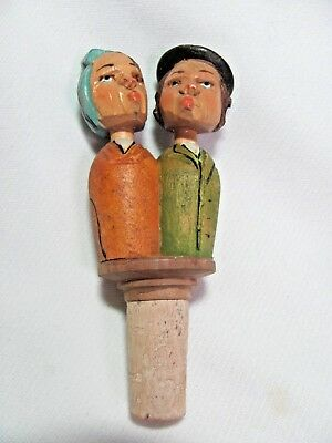Vintage Hand Carved Mechanical Bottle Stopper Kissing Man & Woman #2
