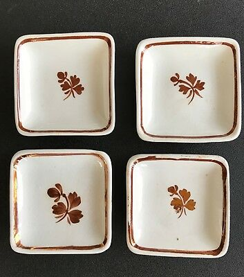 3 Antique Wedgwood 1 W H Grindley Royal Stone China Tea Leaf Butter Pats England