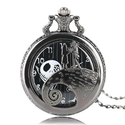 NIGHTMARE BEFORE CHRISTMAS Quartz Pocket Watch Pendant Necklace JACK AND SALLY