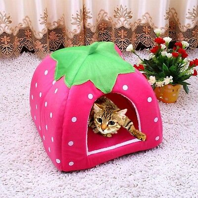 Soft Strawberry Pet Igloo Dog Cat Bed House Kennel Dogs Bed House Cat Toys