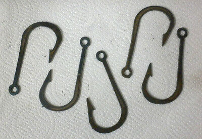 Lot of 5 Fishhook Shape 3 Inch Rusty Metal Vintage Stencil Ornament Magnet Craft