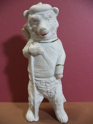 "ANTIQUE PORCELAIN BISQUE BEAR with SKIES FIGURINE 9885 GERMANY 8"" TALL"
