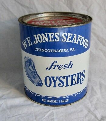 Vintage Advertising Store Oyster 1 Gallon Tin With Original Lid