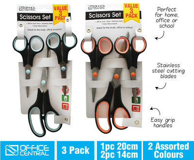3PC Scissors Set Stainless Steel Sharp Cut Kitchen, Office, Home, School AUSSIE