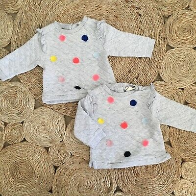 Cotton On Baby Girl Tassel Jumper Size 00 X 2 (Suit Twins)