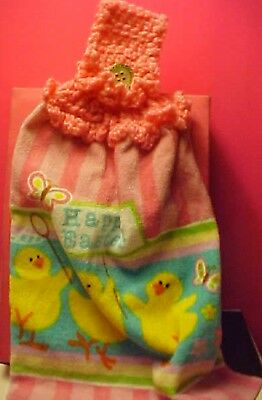 Lightweight Hanging Easter Chick Kitchen Hand / Dish Towel W Crocheted  Handle