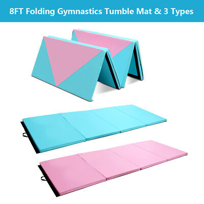 8FT Foldable Gymnastics Mat 4 Panels Gym Mats for Tumbling Yoga Fitness Exercise