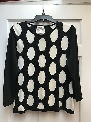 Talbots L Black White Floral Polka Dot Cotton Short Sleeve Sweater