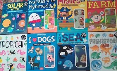 300 STICKERS IN ONE BOOK,  Boy, Girl, 20 Designs Each, Laser, Gift,Free Aus Post