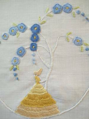 Gorgeous Gold Crinoline Lady & Blue Deco Tree   ~ Vintage Hand Embroidered Centr