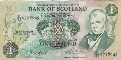 UK Great Britain Scotland Banknote 1 Pound 1986