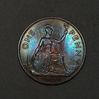 1939 UK Great Britain British One 1 Penny - Colorful Toning - Signs of old clean