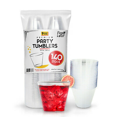 (140 Pack) Hard Plastic 9 Ounce Party Cups Crystal Clear Old Fashioned Tumblers