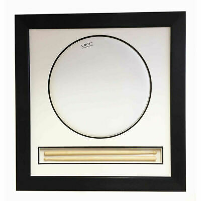 Drum Head 3D Display With Sticks Choice Of Silver Or Black Frame - All Sizes